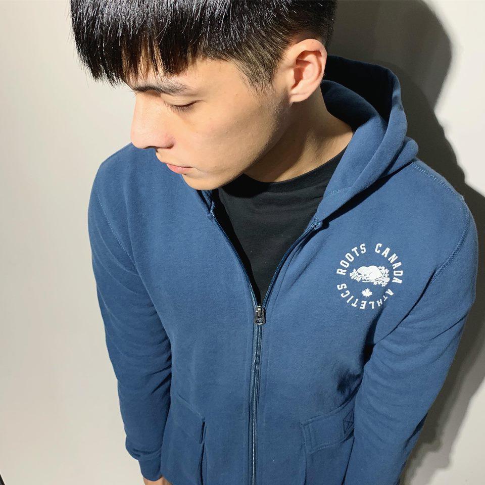 美國百分百【全新真品】Roots 加拿大 海貍 經典 棉質 連帽 外套 夾克 logo 藍色 XXS號 J762