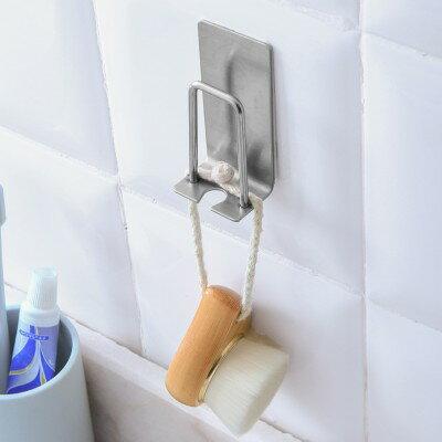 ♚MY COLOR♚免打孔不銹鋼居家掛勾 浴室 牙具 牙刷架 吸壁式 黏膠 衛生間 收納掛架 漱口杯【P642】