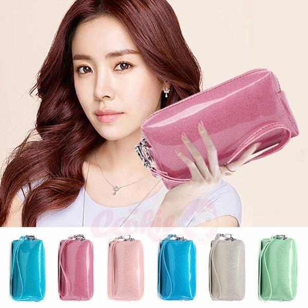 韓國東大門糖果色珠光漆皮亮面拉鍊零錢包手提包(6色)【庫奇小舖】