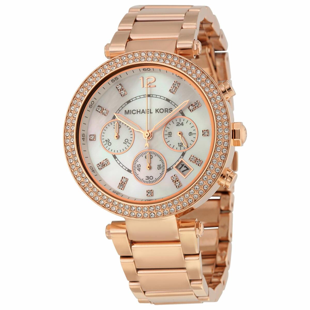 Outlet 正品代購 MichaelKors MK 玫瑰金鑲鑽 三環計時手錶腕錶 MK5491