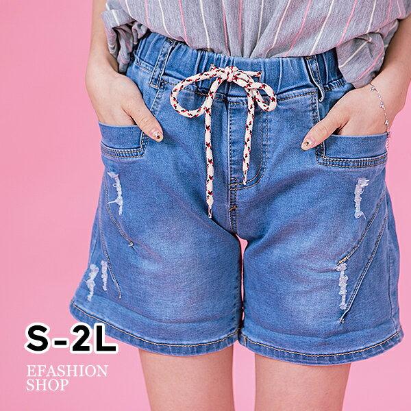 黑紅綁帶反折褲管牛仔短褲-eFashion預【H12305028】