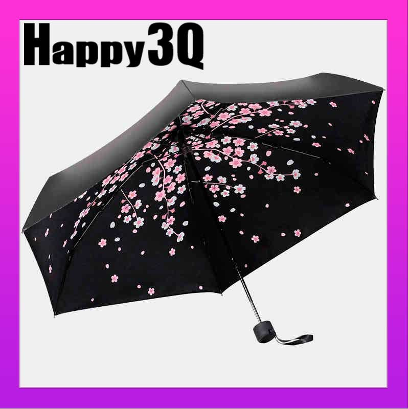 迷你超輕黑膠防曬防紫外線遮陽櫻花晴雨傘~綠 粉 黑~AAA0575~