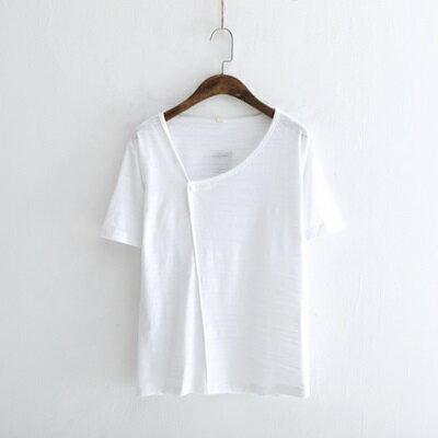 短袖T恤純色上衣-文藝復古一粒釦休閒女打底衫3色73sy40【獨家進口】【米蘭精品】