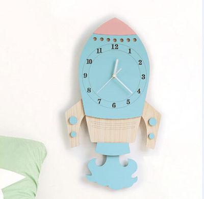 可愛時尚掛鐘創意火箭超靜音家居裝飾品兒童房客廳臥室壁鐘