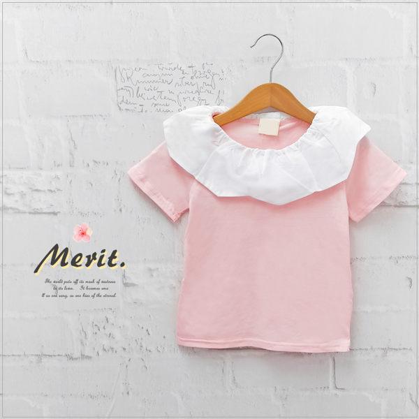 純棉 雲朵花邊領短袖上衣 可愛 素面 粉紅 女童 日系 短T【哎北比童裝】