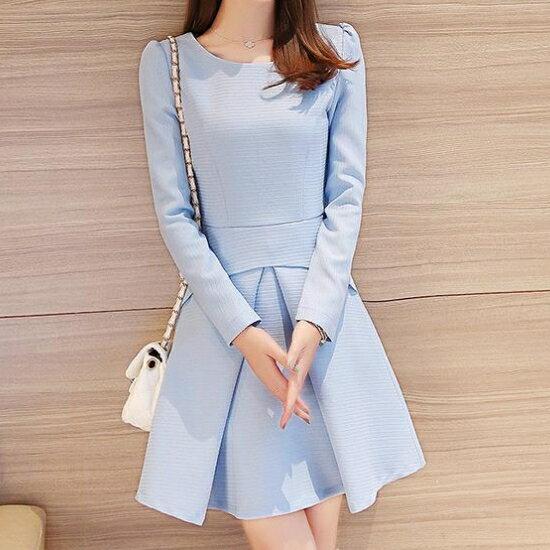 韓版 新款時尚名媛氣質收腰顯瘦連身裙 S~XL  現貨+預購  韓風衣舍