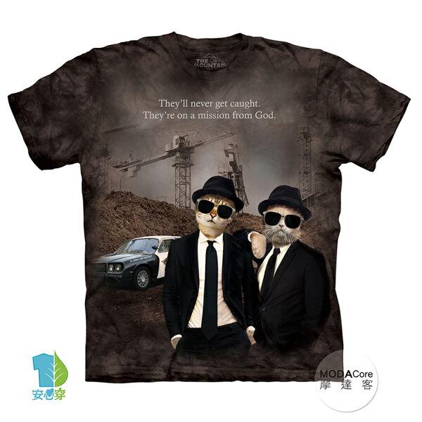 【摩達客】(預購)美國進口TheMountain貓咪拍檔純棉環保藝術中性短袖T恤