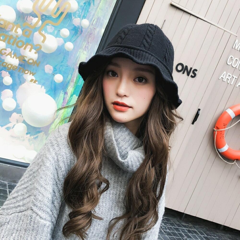 漁夫帽女士韓版百搭毛線帽子保暖針織盆帽時尚可愛潮復古英倫 沸點奇跡 新春鉅惠
