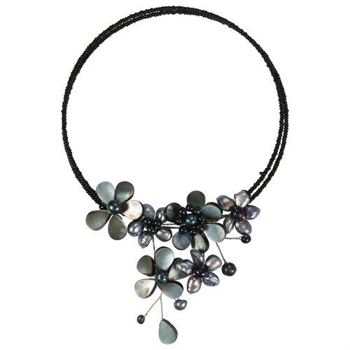 Multi Flower Black Pearl Cluster Choker Wrap Necklace 0