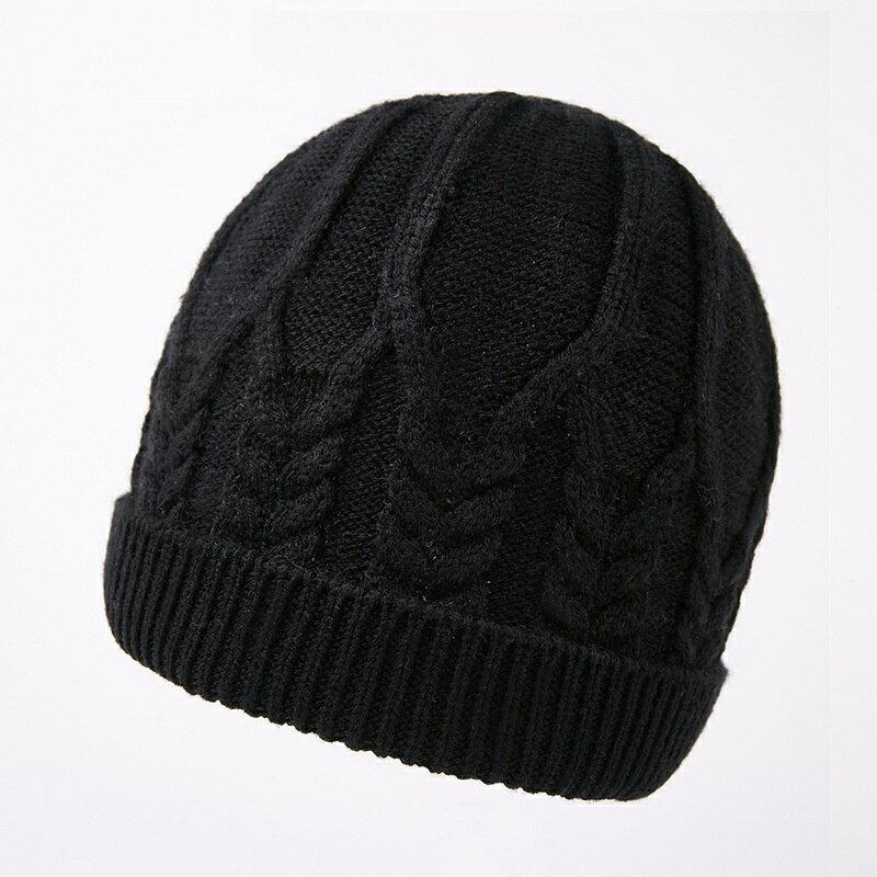 毛帽羊毛針織帽-純色麻花加厚護耳男帽子3色73wj42【獨家進口】【米蘭精品】 0