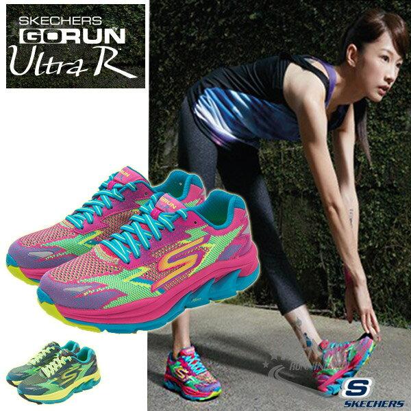 SKECHERS 女慢跑鞋GO Run Ultra R (藍*桃紅*繽紛 ) 跑步系列  路跑  簡嫚書代言款
