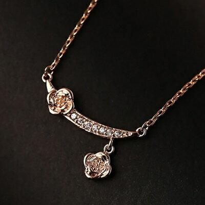 ~玫瑰金項鍊 鑲鑽純銀吊墜~精緻 優雅玫瑰花生日情人節 女飾品73dw26~ ~~米蘭 ~