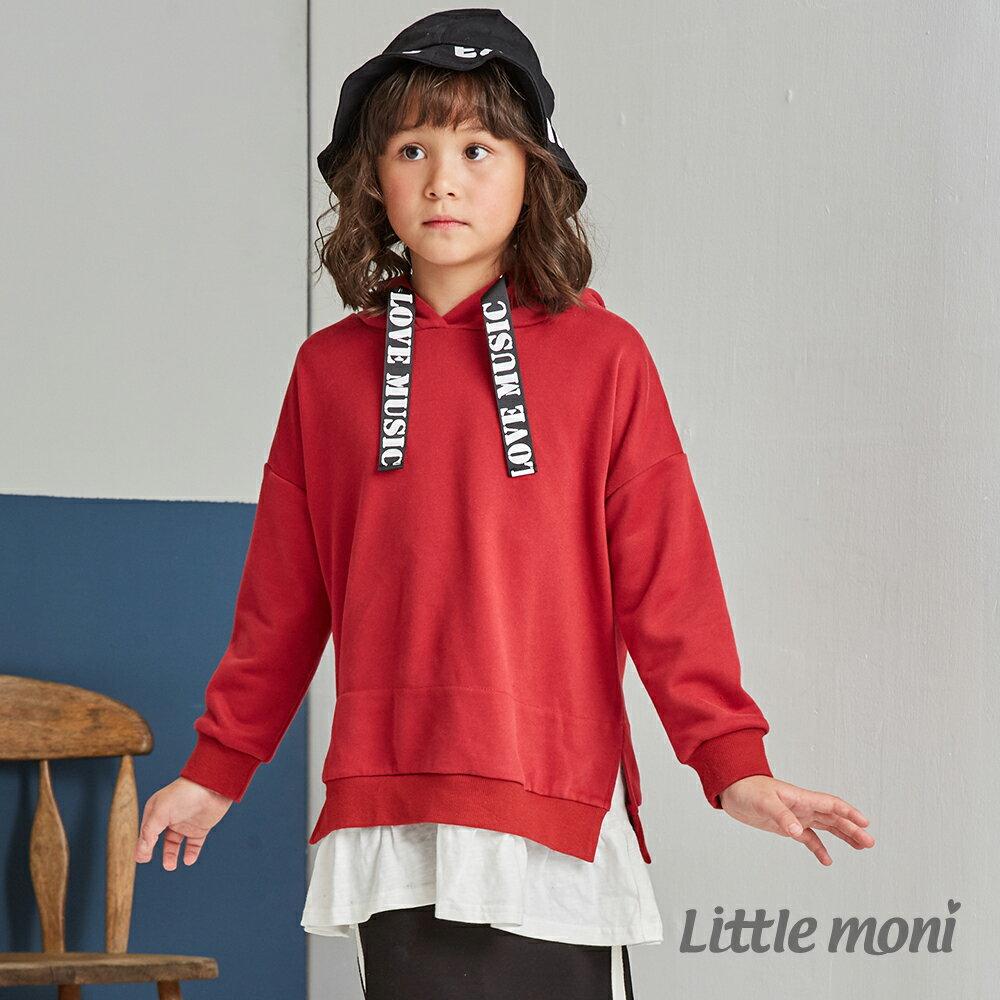 Little moni 連帽織帶拼接長版上衣-紅色(好窩生活節) 1