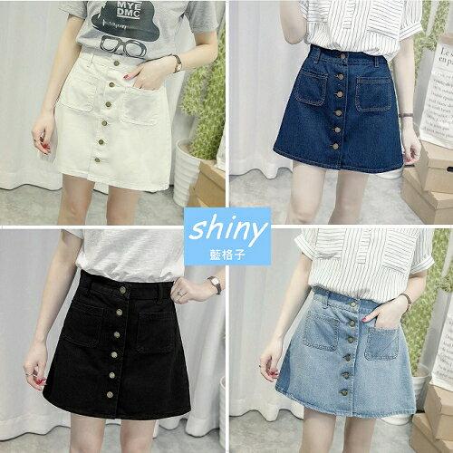 ~V1877~shiny藍格子~復古時代.雙口袋高腰單排釦A字牛仔短裙