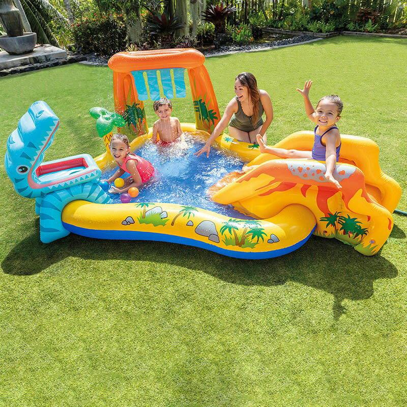 兒童充氣游泳池滑梯加厚噴水池海洋球池家用寶寶戲水池
