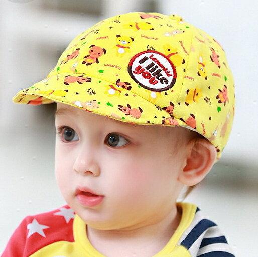 Lemonkid◆可愛滿版pp小熊字母刺繡貼標兒童舒適棉質鴨舌帽-黃色