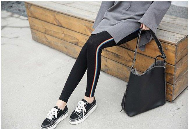 長褲 素色 側邊 彩色條紋 運動 小腳褲 貼身 內搭 長褲【MZEJ17024】 BOBI  09 / 05 3