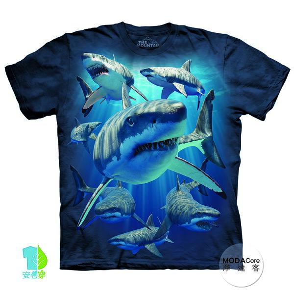 【摩達客】(預購)美國進口TheMountain鯊魚覓食純棉環保藝術中性短袖T恤