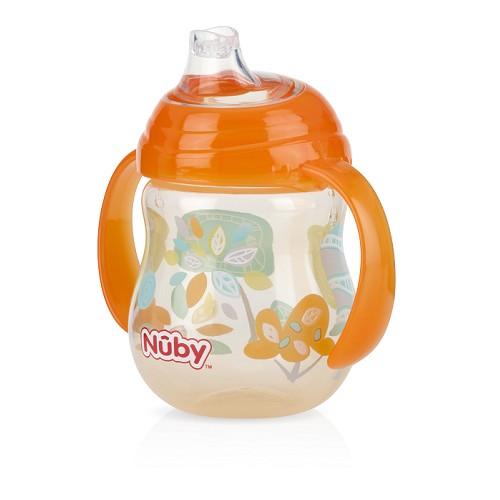 Nuby - 卡拉防漏雙耳飲嘴杯 270ml 橘色幾何款 卡拉杯系列任二件加贈Nuby - 多功能水杯帶!