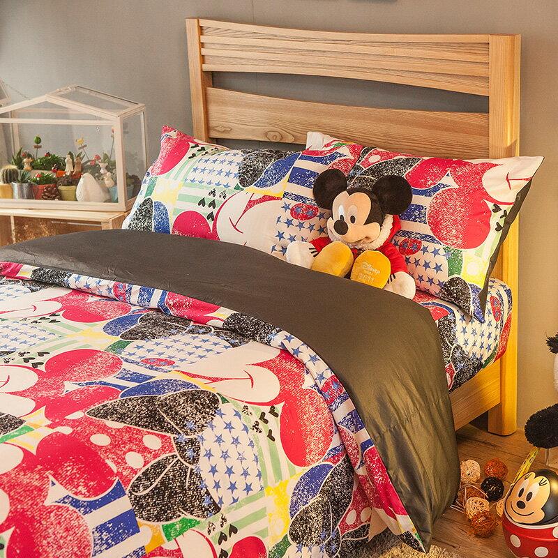 床包被套組/ 雙人特大-100%精梳棉【米奇恰恰】迪士尼系列,含兩件枕套,戀家小舖,台灣製AAS512