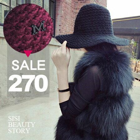 SISI【A6001】優雅簡約M字母粗針毛線漁夫盆帽可折疊大檐帽針織帽毛帽