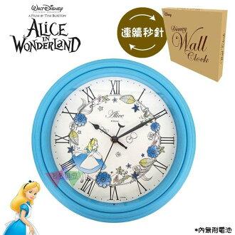 叉叉日貨 迪士尼愛麗絲夢遊仙境花朵圍繞羅馬數字粉藍外框圓形時鐘掛鐘盒裝 日本正版【Di40292】