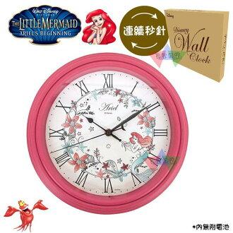 叉叉日貨 迪士尼小美人魚艾莉兒花朵圍繞羅馬數字桃紅外框圓形時鐘掛鐘盒裝 日本正版【Di40261】