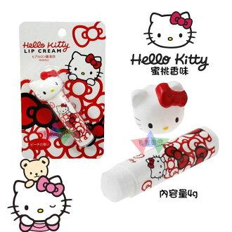 叉叉日貨 Hello Kitty凱蒂貓大頭立體蓋子蝴蝶結堆保濕玻尿酸 蜜桃香味護唇膏4g 日本正版【KT46915】追加