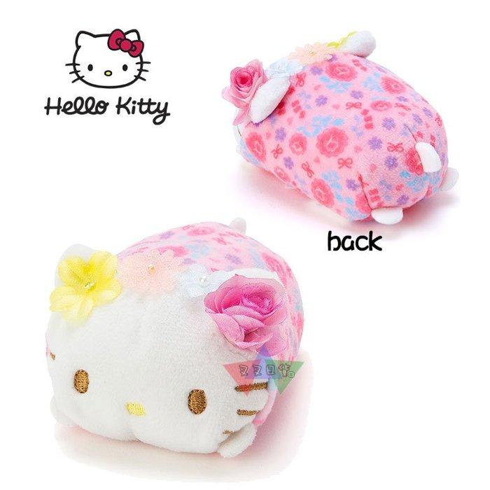叉叉日貨 三麗鷗戴花圈系列Hello Kitty凱蒂貓趴姿絨毛手掌小沙包疊疊樂娃娃 日本正版【KT99702】