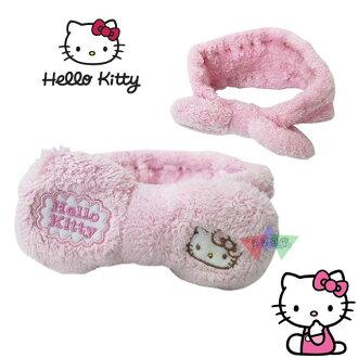 叉叉日貨 Hello Kitty凱蒂貓絨毛粉紅大蝴蝶結彈性洗臉髮帶~敷面膜必備 日本正版【KT63994】