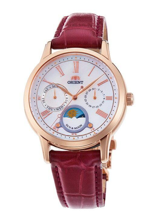 【時光鐘錶】ORIENT 東方錶(RA-KA0001A) 月相 玫瑰金 防水 三眼 女錶/35mm