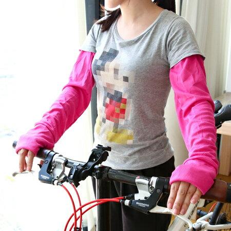 涼感新素材 消暑運動網布袖套(1雙入) 吸汗 速乾 防曬袖套 夏日 機車【N201635】