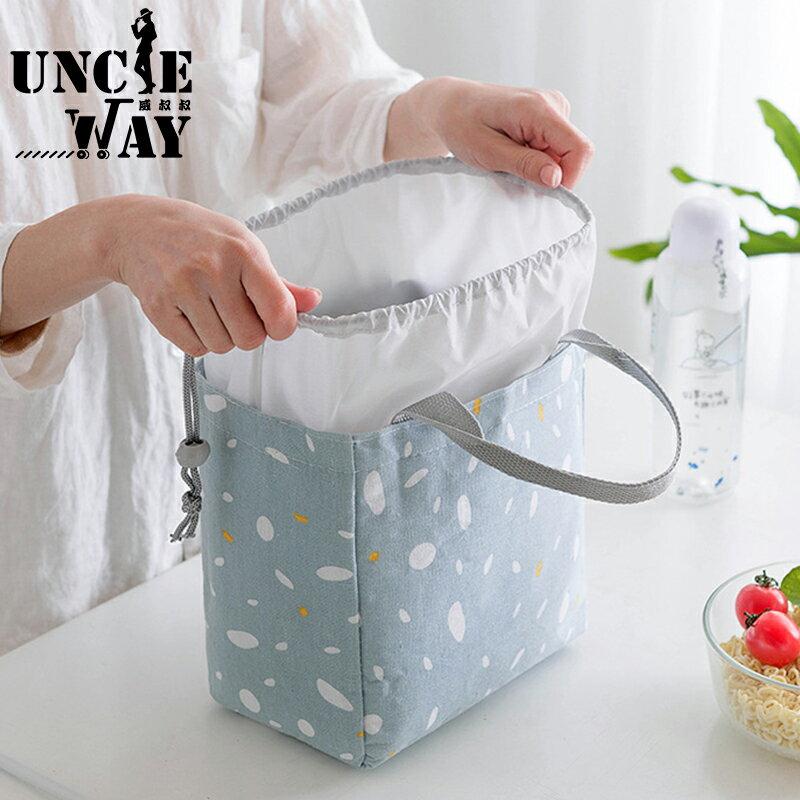 韓國飯盒 落雪束口保温包 保溫包 保溫餐袋 餐袋 便當盒 束口袋 環保提袋 帶飯包 棉麻保溫袋【H0277】 0