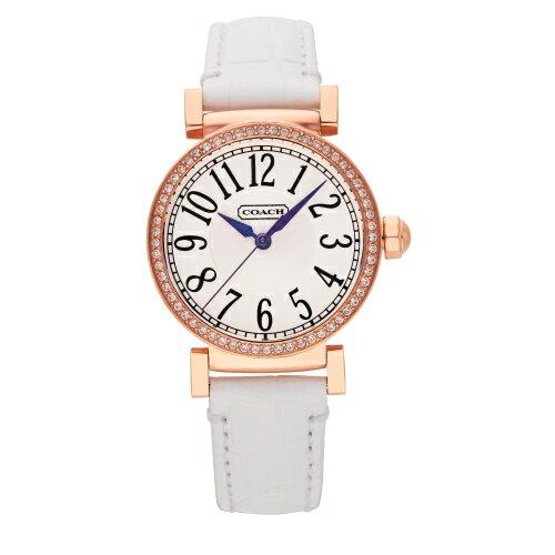 COACH 時尚經典腕錶-白*玫瑰金/白色壓紋皮革+錶殼水鑽/32mm