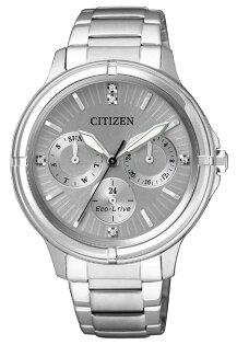 CITIZEN星辰錶FD2030-51H甜美風光動能三眼時尚女錶銀39mm