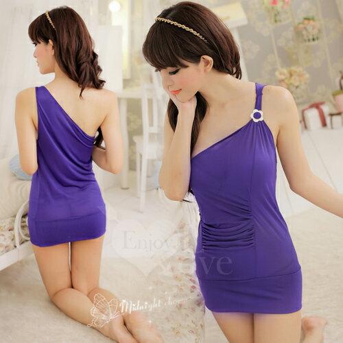 性感睡衣 情趣睡衣~~Enjoy Love~派對舞后!單肩夜店性感服~紫~