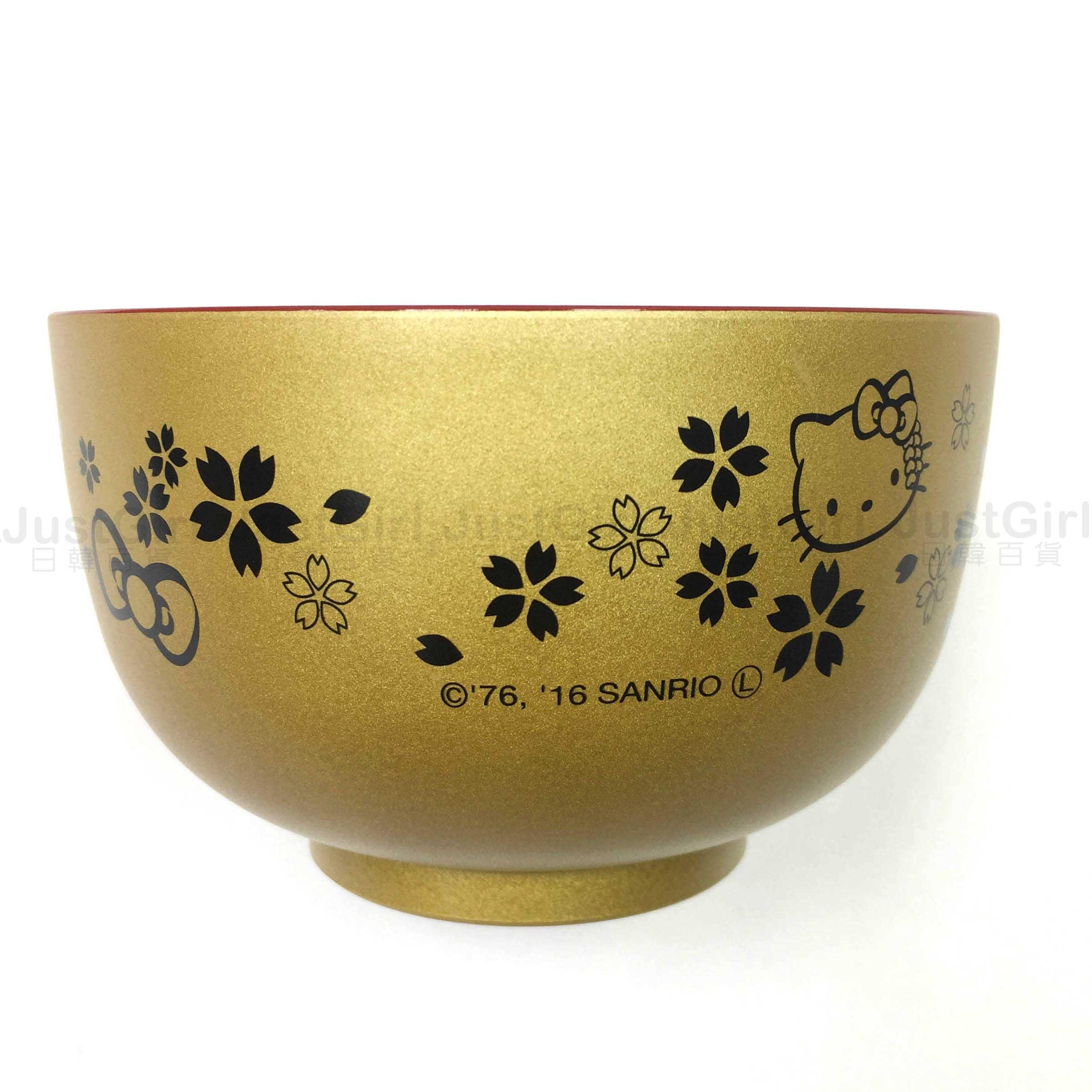 HELLO KITTY 碗 飯碗 湯碗 餐碗 日式和風 櫻花蝴蝶結和服 金色 餐具 正版日本製造進口 JustGirl