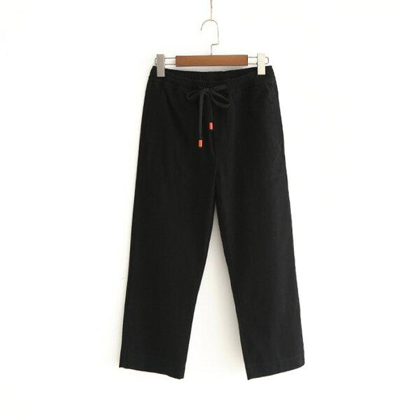 純色繫帶休閒褲方口袋鬆緊直筒七分褲樂天時尚館。預購。[全店免運]