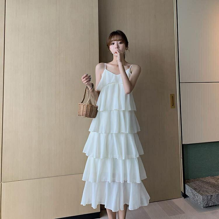蛋糕裙 白色蛋糕長裙女法式輕熟雪紡吊帶連身裙顯瘦