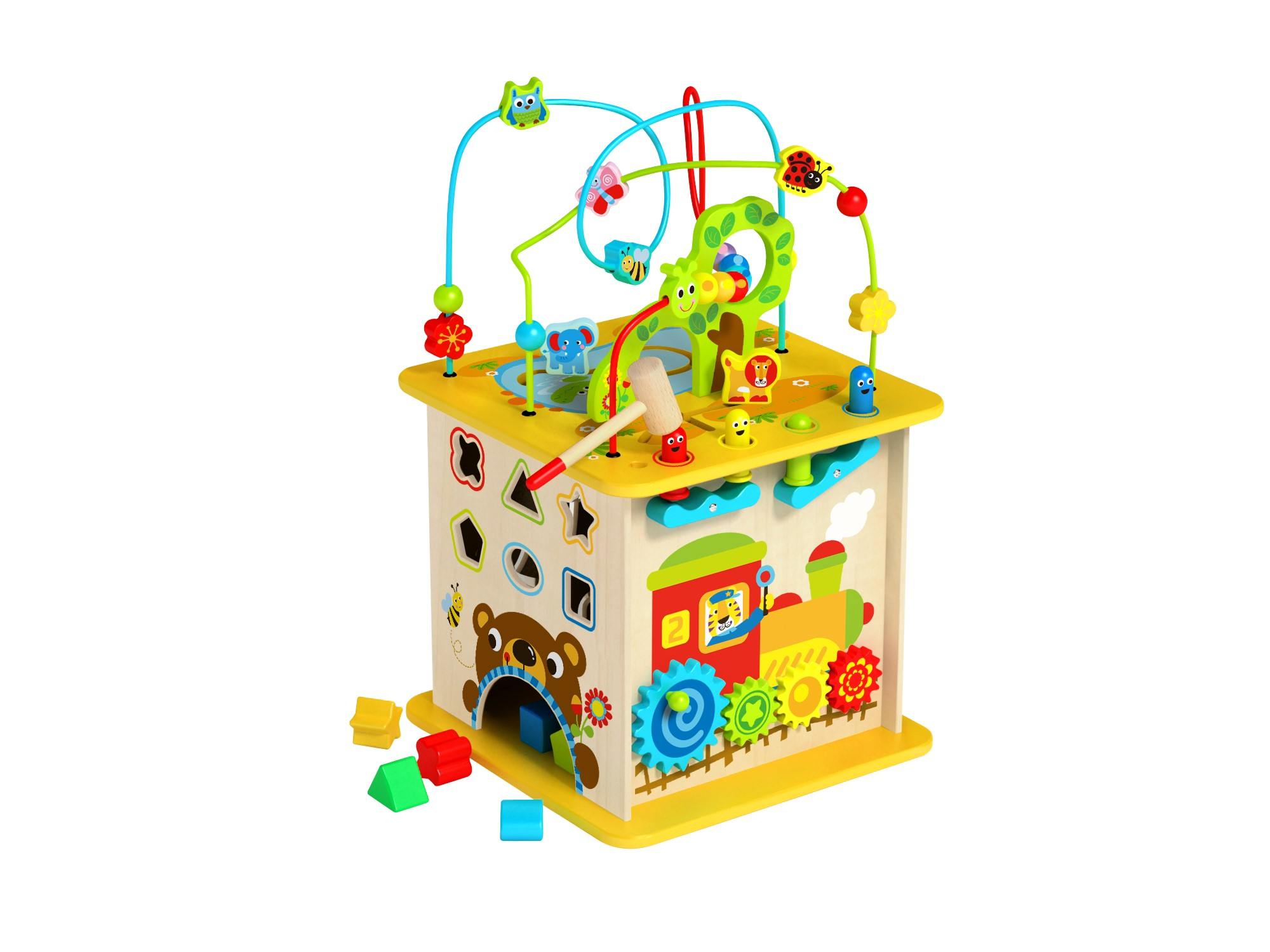 1abde465914 Toyster's Wooden Activity Cube for Toddlers | Multi-Purpose Kids  Educational Learning Wood Play Toy