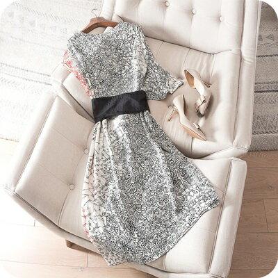 連身裙桑蠶絲連衣裙-高貴優雅復古韻味女上衣73sz31【獨家進口】【米蘭精品】 1