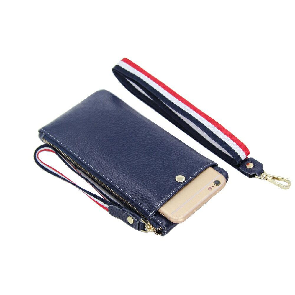手拿包真皮手機包-薄款純色牛皮掛脖女包包4色73wz41【獨家進口】【米蘭精品】 2