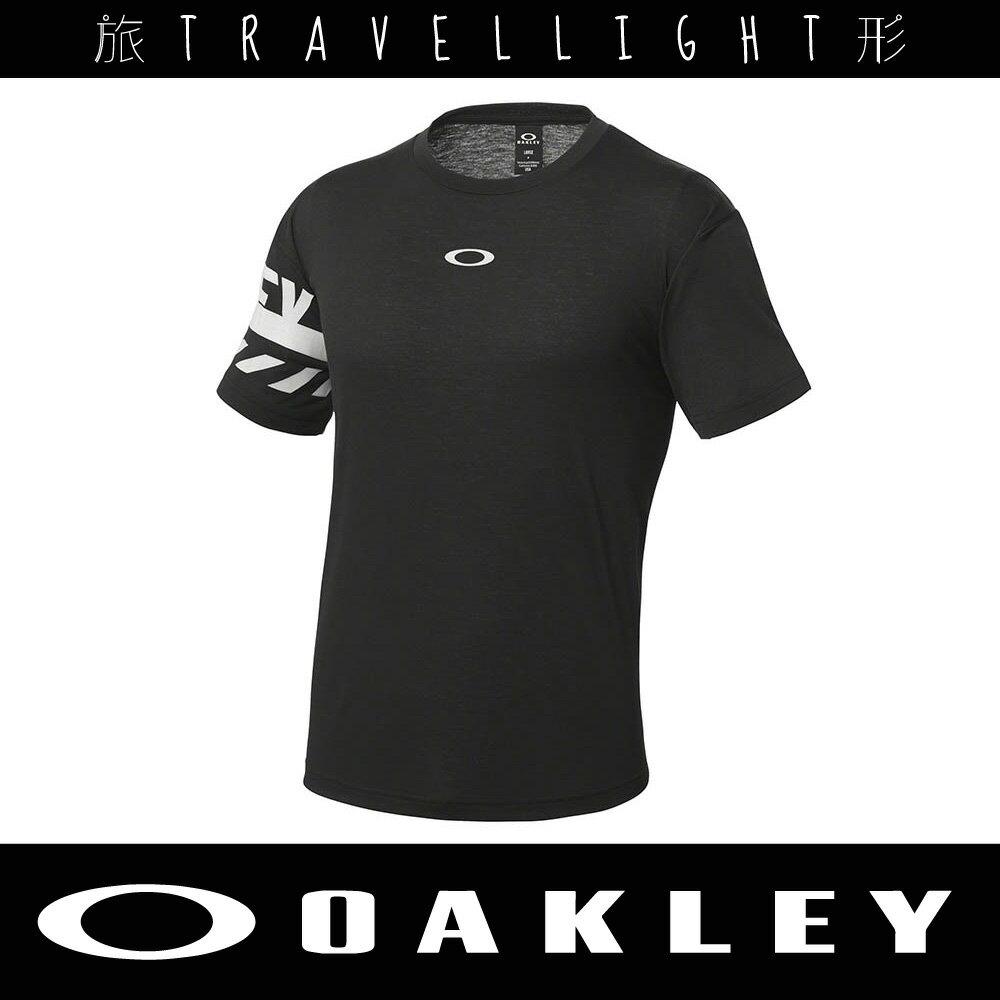 【Oakley】男短袖T恤 黑 456680JP-02E 吸汗快乾 Travellight旅形