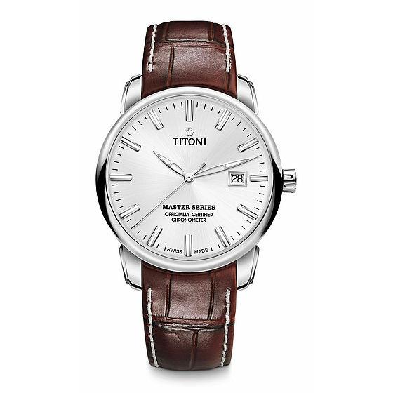 TITONI瑞士梅花錶大師系列 83188S-ST-575 精密時計自動機芯腕錶/白面皮帶款 41mm