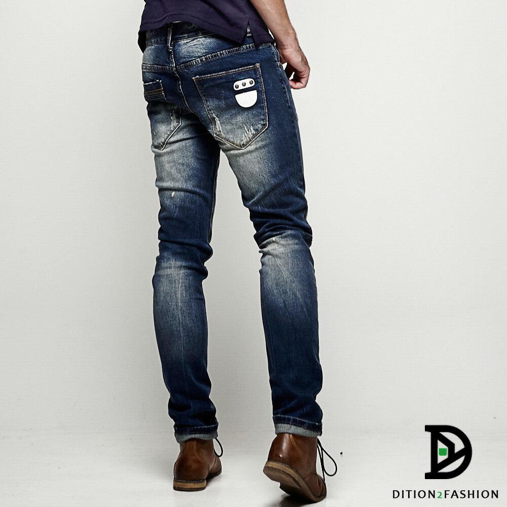 DITION SHOP  藍染皮革DENIM窄管牛仔褲 韓國平輸 小賈斯汀 孔劉 0