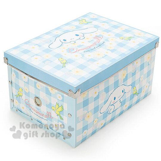 〔小禮堂〕大耳狗 塑膠折疊收納箱《M.藍.雛菊》附蓋.可放A4尺寸