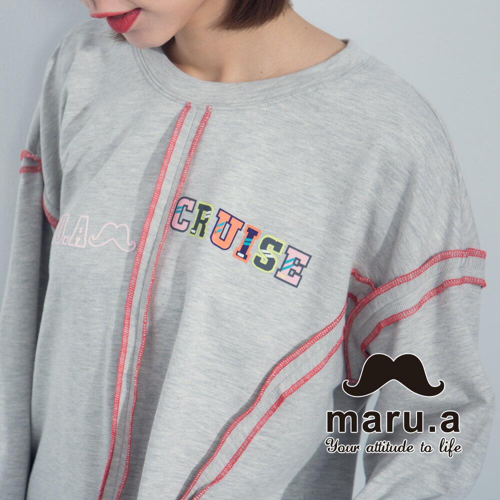 【maru.a】文字印花不對稱撞色車線T-Shirt  8321225 1