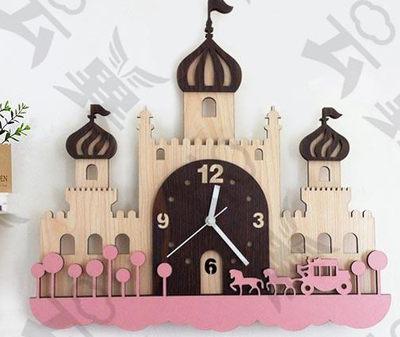可愛時尚創意掛鐘超靜音城堡家居裝飾品兒童房客廳臥室壁鐘