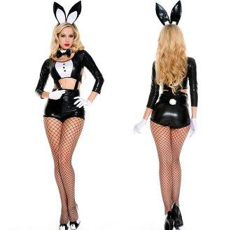 黑色兔女郎Bunny girl漆皮吊帶可愛兔女郎角色扮演萬聖節情趣套裝
