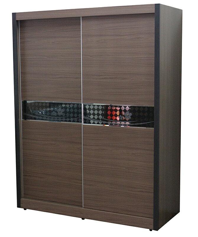 【尚品傢俱】655-77 池袋淺胡桃色5x7尺推門衣櫥/衣櫥/衣櫃/收納衣櫃
